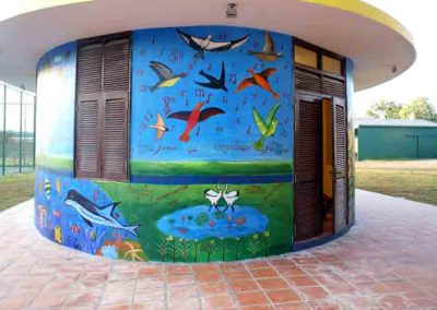 Image of birds painted on mural