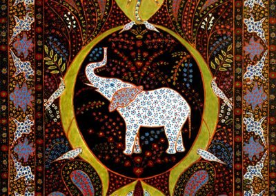Persian rug with elephant image