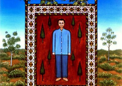 A cross-cultural painting, Hanging persian carpet from Australian gum tree