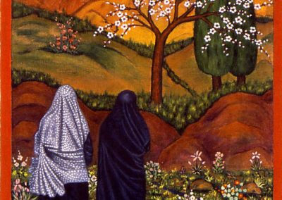 Two Iranian Sisters walking towards a beautiful lanscape